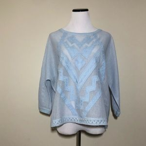 Anthropologie Embroidered Mesh Blouse